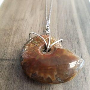 Jewelry - Fossilized Semi-Precious Stone  925 Necklace